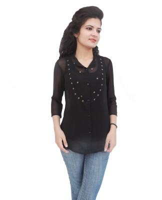 Paris Plush Women's Solid Party Black Shirt