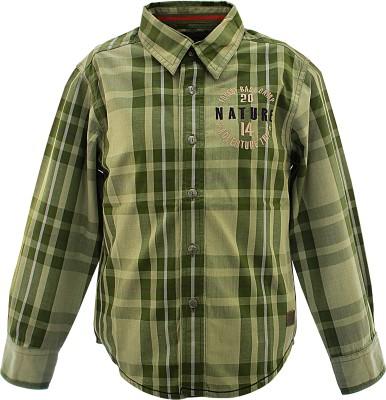Blue Giraffe Boy's Checkered Casual Green Shirt