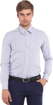 Classic Polo Men's Houndstooth Formal White, Blue Shirt