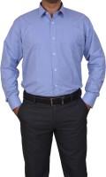 Trivistup Formal Shirts (Men's) - TRIVISTUP Men's Checkered, Solid Formal Blue Shirt