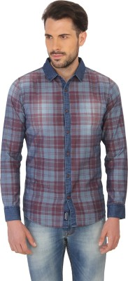 Being Human Men's Checkered Casual Red Shirt