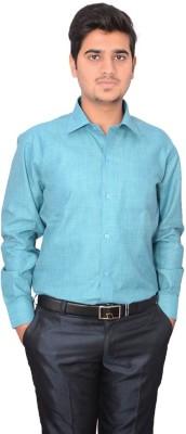 Indocity Men's Solid Formal Green Shirt