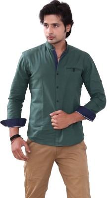 Bleu Men's Solid Casual Green Shirt