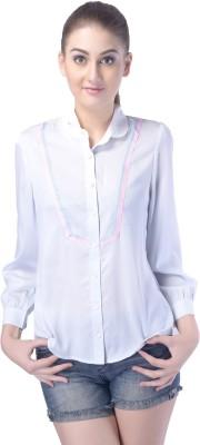 Trendy Divva Women's Solid Casual White Shirt at flipkart