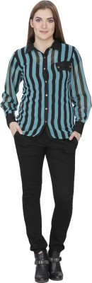 India Inc Women's Striped Party Green Shirt