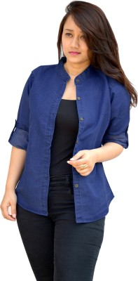 Aarti Collections Women's Self Design Casual Denim Blue Shirt