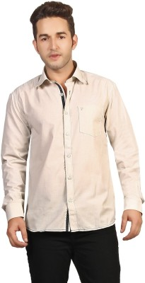 P4 Men's Solid Casual Brown Shirt