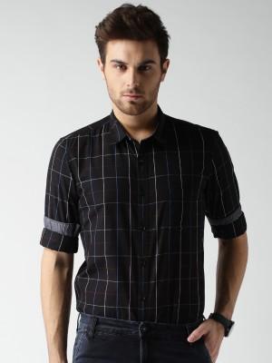 Mast & Harbour Men's Checkered Casual Black Shirt