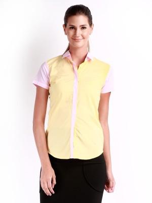 Change 360 Women's Solid Casual Yellow Shirt