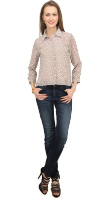 Splendent Women's Polka Print Formal Brown Shirt