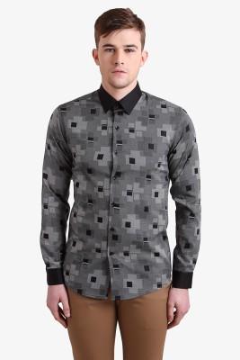 Alvin Kelly Men's Geometric Print Casual Black Shirt