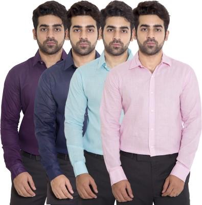 deekshavastra Men's Solid Casual Pink Shirt