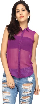 American Laundry Women's Solid Casual Purple Shirt