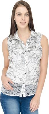 IDENTITI Women's Printed Casual White Shirt