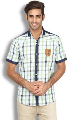 Goodkarma Men's Checkered Casual White, Green Shirt