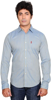 Ubho Core Men's Striped Casual Light Blue Shirt