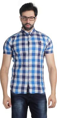 Nostrum Jeans Men's Checkered Casual Blue, White, Light Blue Shirt