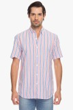 Cotton World Men's Striped Casual Pink S...