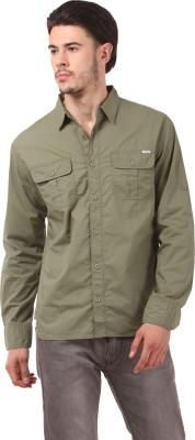 CAT Men's Solid Casual Reversible Brown Shirt