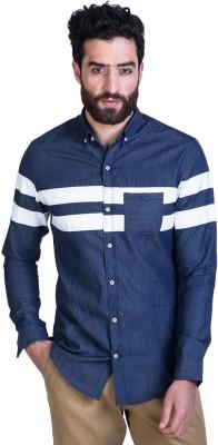 Mr Button Men's Self Design Casual Blue Shirt