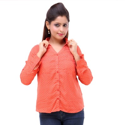 Kashana Fashions Women's Printed Casual Orange Shirt