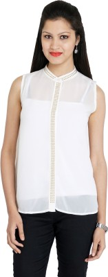 Franclo Women's Solid Formal White Shirt