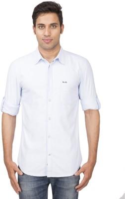 Truccer Basics Men's Solid Casual Blue Shirt