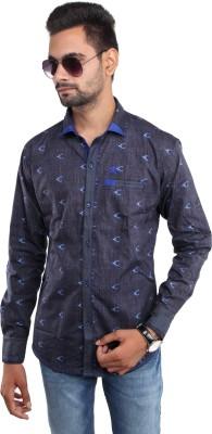 Beyond Imagination Men's Printed Casual Blue Shirt