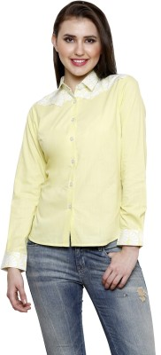 see Designs Women's Solid Casual Yellow Shirt