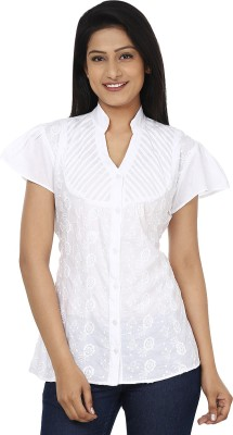 Anam Export Women,s Embroidered Casual White Shirt