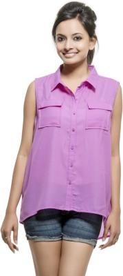 Kashana Fashions Women's Solid Casual Purple Shirt