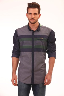 Baaamboos Men's Checkered Casual Grey Shirt