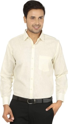 X-Cross Men's Self Design Formal Beige Shirt