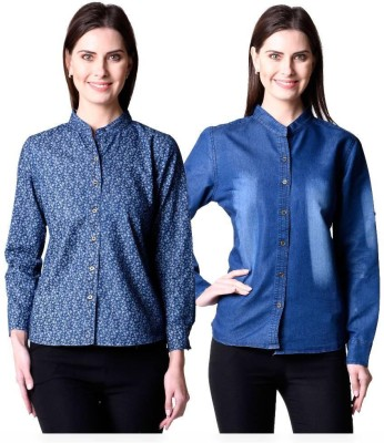 Beautic Women's Solid Casual Denim Multicolor Shirt