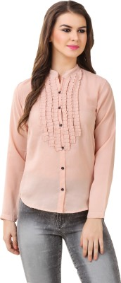 Big Pout Women's Checkered, Embroidered Casual, Party, Formal Pink Shirt