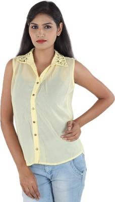 Aimeon Women's Solid Casual Yellow Shirt