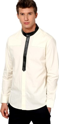 I Know Men's Solid Party Beige Shirt