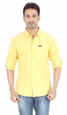 Spykar Men's Solid Casual Yellow Shirt