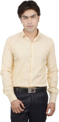 25th R Men,s Solid, Self Design Casual Yellow Shirt