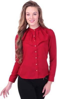 Sassafras Women's Solid Casual Maroon Shirt