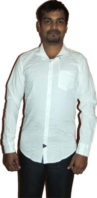 D Shape Men's Solid Casual White Shirt