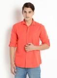 Grammer Men's Solid Casual Orange Shirt