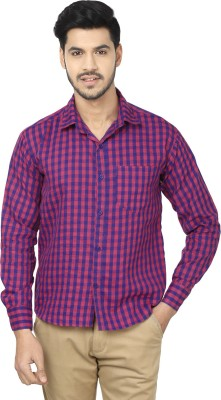 Trewfin Men's Checkered Casual Pink, Blue Shirt