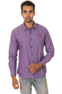 West Vogue Men's Solid Casual Purple Shirt