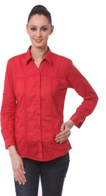 Being Fab Women's Solid Casual Red Shirt