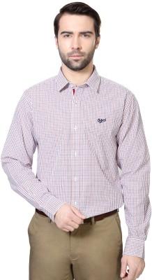University of Oxford Men's Checkered Formal White Shirt