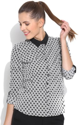 Silly People Women's Printed Casual Black Shirt