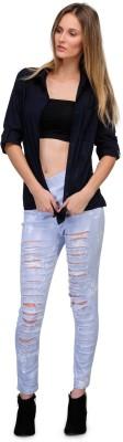Yolo Designs Women's Solid Formal Blue Shirt