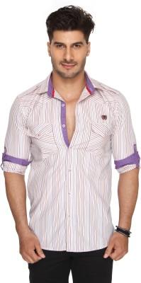 Ramarrow Men's Striped Casual Beige Shirt