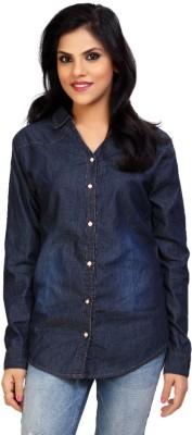 Carrel Women's Solid Casual Denim Dark Blue Shirt